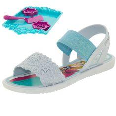 4212100b5 01. Preço Par. 12. Sandália Infantil Feminina Frozen Cookies Azul Grendene  Kids ...