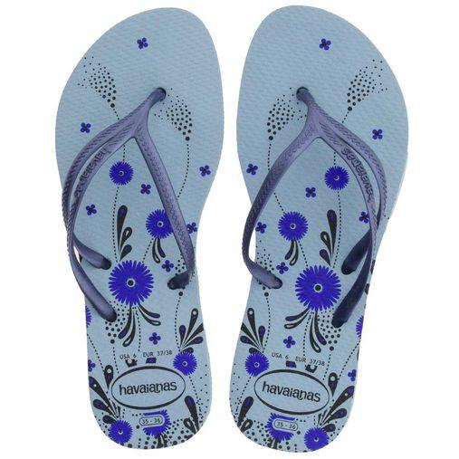 e7cb1ba15 Chinelo Feminino Nova Tria Botanic Azul Havaianas - 414573 - 12 Pares. 1